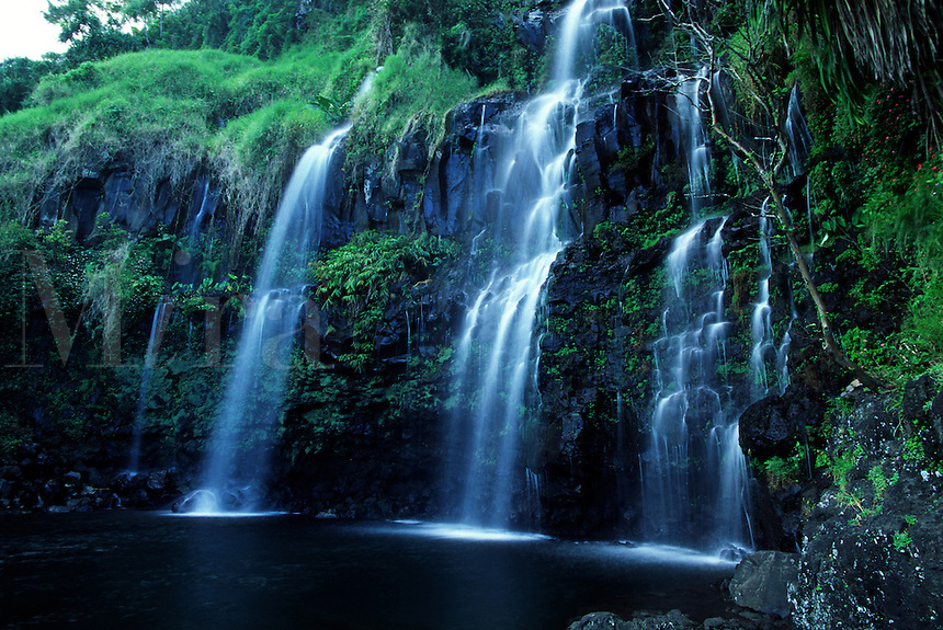 This waterfall faces the Pacific ocean near Hana on the island of Maui, Hawaii.