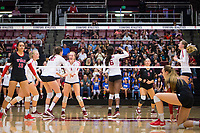 STANFORD, CA - November 4, 2018: Kathryn Plummer, Audriana Fitzmorris, Jenna Gray, Tami Alade, Morgan Hentz, Meghan McClure at Maples Pavilion. No. 2 Stanford Cardinal defeated the Utah Utes 3-0.