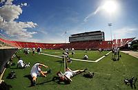 Jun. 13, 2009; Las Vegas, NV, USA; Players stretch out during the United Football League workout at Sam Boyd Stadium. Mandatory Credit: Mark J. Rebilas-