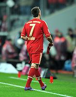 FUSSBALL   1. BUNDESLIGA  SAISON 2011/2012   17. Spieltag FC Bayern Muenchen - 1. FC Koeln       16.12.2011 Franck Ribery (FC Bayern Muenchen) geht nach der Gelb Rote Karte vom Platz