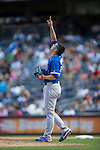 Roberto Osuna (Blue Jays),<br /> AUGUST 9, 2015 - MLB :<br /> Pitcher Roberto Osuna of the Toronto Blue Jays points at the sky during the Major League Baseball game against the New York Yankees at Yankee Stadium in the Bronx, New York, United States. (Photo by Thomas Anderson/AFLO) (JAPANESE NEWSPAPER OUT)