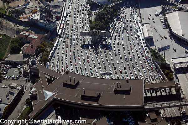 aerial photograph of San Ysidro, San Diego county, Tijuana border crossing at the Mexican American border