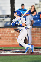 Burlington Royals Mikey Filia (29) swings at a pitch during game one of the Appalachian League Championship Series against the Johnson City Cardinals at TVA Credit Union Ballpark on September 2, 2019 in Johnson City, Tennessee. The Royals defeated the Cardinals 9-2 to take the series lead 1-0. (Tony Farlow/Four Seam Images)