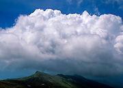 Appalachian Trail - Scenic view from Westside Trail in the Presidential Range in the White Mountains, New Hampshire USA. Storm clouds surround Mount Monroe