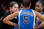 Duke Blue Devils head coach Joanne P. McCallie talks to her players during an NCAA college women's basketball game against the Wisconsin Badgers during the ACC/Big Ten Challenge at the Kohl Center in Madison, Wisconsin on December 2, 2010. Duke won 59-51. (Photo by David Stluka)