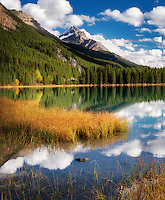 Clouds and reflection in Waterfowl Lakes. Banff National Park. Alberta. Canada.