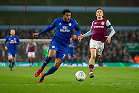 Nathaniel Mendez-Laing of Cardiff City runs in on goal during the Sky Bet Championship match between Aston Villa and Cardiff City at Villa Park, Birmingham, England on 10 April 2018. Photo by Mark  Hawkins / PRiME Media Images.