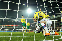 1st January 2020; Carrow Road, Norwich, Norfolk, England, English Premier League Football, Norwich versus Crystal Palace; Connor Wickham of Crystal Palace scores for 1-1 in the 85th minute - Strictly Editorial Use Only. No use with unauthorized audio, video, data, fixture lists, club/league logos or 'live' services. Online in-match use limited to 120 images, no video emulation. No use in betting, games or single club/league/player publications