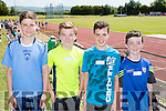 Knockaderry NS Farranfore athletes at the County Primary schools athletics championships in An Riocht Castleisland on Saturday l-r: Brian Burke, Tomas Cifford (Firies NS), Michael Brosnan and Darragh Deniel