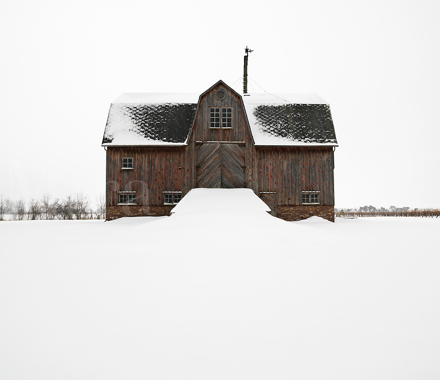 "Canada, Ontario, Saint Catharines, Niagara Region, wooden barn circa 1870""s in the winter"