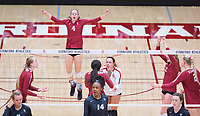 STANFORD, CA - November 3, 2018: Meghan McClure, Jenna Gray, Morgan Hentz, Tami Alade, Kate Formico, Kathryn Plummer at Maples Pavilion. No. 1 Stanford Cardinal defeated No. 15 Colorado Buffaloes 3-2.