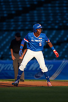 Denzel Clarke (5) of Everest Academy in Pickering, Ontario leads off first base during the Under Armour All-American Game presented by Baseball Factory on July 29, 2017 at Wrigley Field in Chicago, Illinois.  (Mike Janes/Four Seam Images)