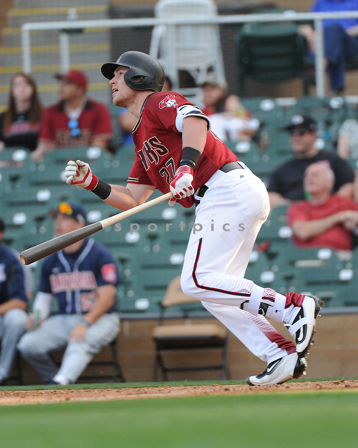 Arizona Diamondbacks Brandon Drury (27) during a preseason game against the Arizona Wildcats on March 1, 2016 at Salt River Fields at Talking Stick in Scottsdale, AZ. The Diamondbacks beat the Wildcats 5-12..