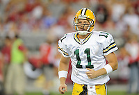 Aug. 28, 2009; Glendale, AZ, USA; Green Bay Packers quarterback (11) Brian Brohm against the Arizona Cardinals during a preseason game at University of Phoenix Stadium. Mandatory Credit: Mark J. Rebilas-
