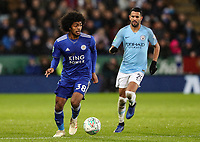Manchester City's Riyad Mahrez looks on as Leicester City's Hamza Choudhury breaks<br /> <br /> Photographer Andrew Kearns/CameraSport<br /> <br /> English League Cup - Carabao Cup Quarter Final - Leicester City v Manchester City - Tuesday 18th December 2018 - King Power Stadium - Leicester<br />  <br /> World Copyright &copy; 2018 CameraSport. All rights reserved. 43 Linden Ave. Countesthorpe. Leicester. England. LE8 5PG - Tel: +44 (0) 116 277 4147 - admin@camerasport.com - www.camerasport.com