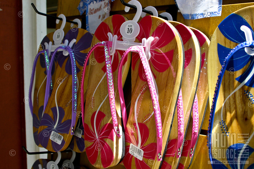 Flip-flops for the feet. In a variety of styles. Any visit to Hawaii must include the purchase of this ever popular beach attire.