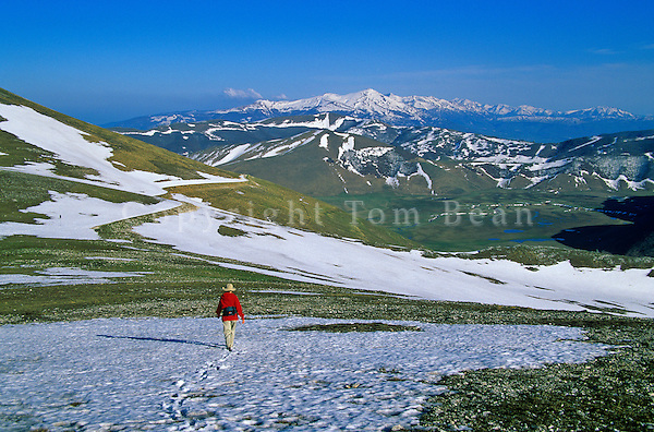 Walking  in mountains above Castelluccio in Monti Sibillini National Park, northeast of Norcia, Umbria, Italy, AGPix_0094 .