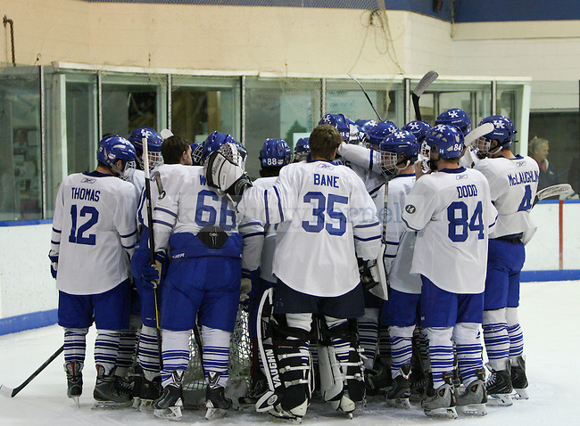 The UK hockey team huddles up before the start of the UK men's hockey game versus Missouri at Lexington Ice Center in Lexington, Ky., on Saturday, November, 9, 2013. Photo by Jonathan Krueger | Staff