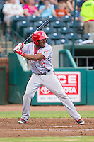 Narciso Mesa (2) of the Hagerstown Suns at bat against the Greensboro Grasshoppers at NewBridge Bank Park on June 21, 2014 in Greensboro, North Carolina.  The Grasshoppers defeated the Suns 8-4. (Brian Westerholt/Four Seam Images)