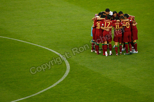 Jul 8, 2006; Stuttgart, GERMANY; The Portugal starting eleven huddle prior to the match against Germany for third place in the 2006 FIFA World Cup at Gottlieb-Daimler-Stadion, Stuttgart. Germany defeated Portugal 3-1. Mandatory Credit: Ron Scheffler-US PRESSWIRE Copyright © Ron Scheffler.