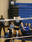 Marymount's Emileigh Rettig hits in a college volleyball game, in Arlington, Vir., on Saturday, Nov. 1, 2014.<br /> Photo by Cathleen Allison
