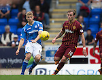 St Johnstone v Motherwell...22.08.15  SPFL   McDiarmid Park, Perth<br /> Dvaid Wotherspoon and Josh Law<br /> Picture by Graeme Hart.<br /> Copyright Perthshire Picture Agency<br /> Tel: 01738 623350  Mobile: 07990 594431