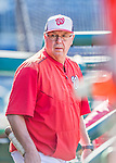 22 August 2015: Washington Nationals pitching coach Steve McCatty stands in the dugout prior to a game against the Milwaukee Brewers at Nationals Park in Washington, DC. The Nationals defeated the Brewers 6-1 in the second game of their 3-game weekend series. Mandatory Credit: Ed Wolfstein Photo *** RAW (NEF) Image File Available ***