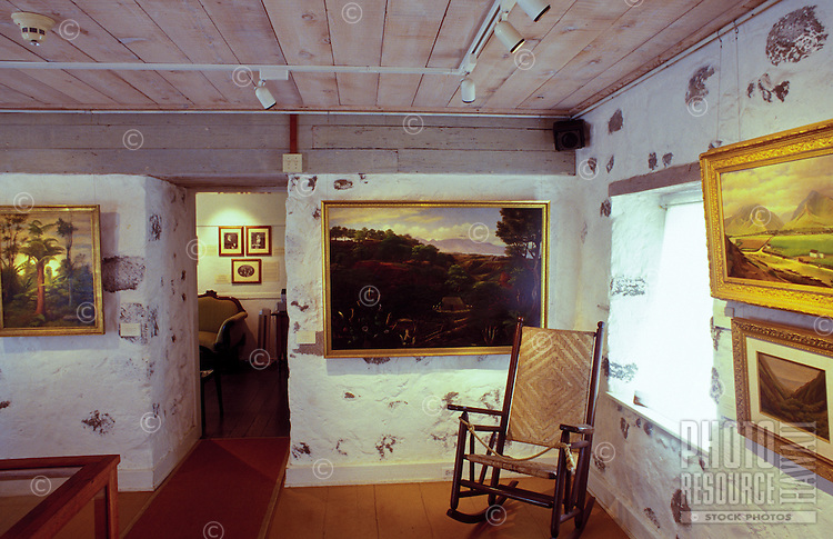 Interior of Bailey House Museum, an historical mission house with Hawaiiana and art and craft demonstrations, Wailuku, Maui