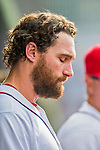 15 June 2016: Washington Nationals second baseman Daniel Murphy looks downward in the dugout during game action against the Chicago Cubs at Nationals Park in Washington, DC. The Nationals defeated the Cubs 5-4 in 12 innings to take the rubber match of their 3-game series. Mandatory Credit: Ed Wolfstein Photo *** RAW (NEF) Image File Available ***