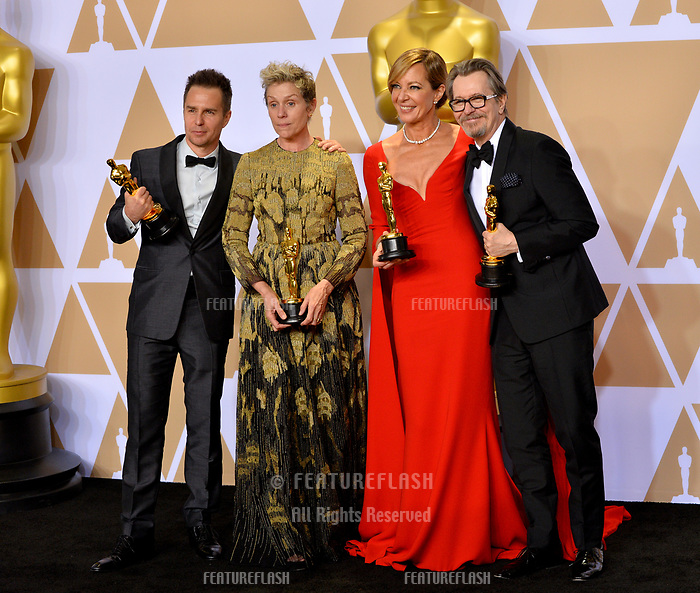 Gary Oldman, Frances McDormand, Sam Rockwell &amp; Allison Janney at the 90th Academy Awards Awards at the Dolby Theartre, Hollywood, USA 04 March 2018<br /> Picture: Paul Smith/Featureflash/SilverHub 0208 004 5359 sales@silverhubmedia.com