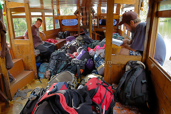 India, Kerala, backwaters. Heap of luggage on the tourist-ferry from Kollam to Allepey. No releases available.