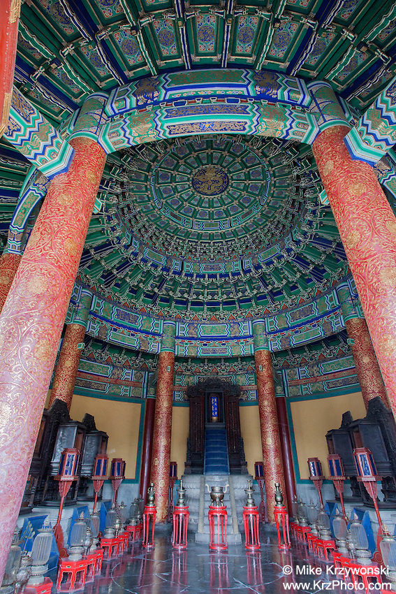 Interior of a temple at the Temple of Heaven attraction , Beijing, China