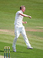 PICTURE BY VAUGHN RIDLEY/SWPIX.COM - Cricket - County Championship, Div 2 - Yorkshire v Northamptonshire, Day 1  - Headingley, Leeds, England - 20/05/12 - Yorkshire's Steve Patterson celebrates the wicket of Northamptonshire's Stephen Peters.