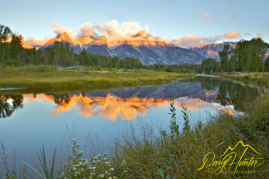 Shwabackers Landing Reflecton Sunrise, Jackson Hole, Grand Teton National Park, Wyoming<br /> <br /> For production prints or stock photos click the Purchase Print/License Photo Button in upper Right; for Fine Art &quot;Custom Prints&quot; contact Daryl - 208-709-3250 or dh@greater-yellowstone.com