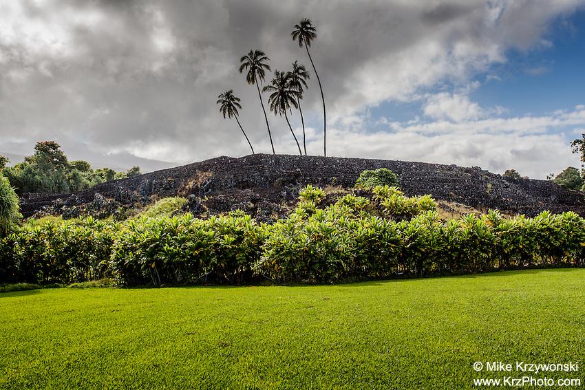 Pi'ilanihale Heiau at the Kahanu Garden, on the road to Hana, Maui