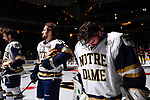 ST PAUL, MN - APRIL 7: Dylan St. Cyr #1 of the Notre Dame Fighting Irish bows his head prior to taking on the Minnesota-Duluth Bulldogs during the Division I Men's Ice Hockey Championship held at the Xcel Energy Center on April 7, 2018 in St Paul, Minnesota. (Photo by Tim Nwachukwu/NCAA Photos via Getty Images)