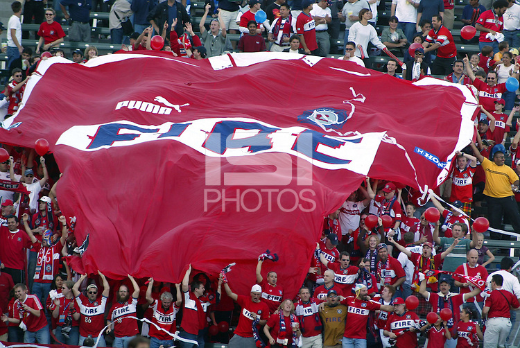 Chicago Fire fans. The San Jose Earthquakes defeated the Chicago Fire 4-2 in the MLS Cup Championships, in Carson, Calif.