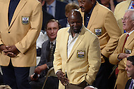Canton, Ohio - August 1, 2014: Emmitt Smith, former NFL running back and 2010 Hall of Fame inductee, is recognized during the Pro Football Hall of Fame's class of 2014 enshrinement dinner in Canton, Ohio  August 1, 2014. Smith was named to eight Pro Bowls and finished his career with 18,355 rushing yards.  (Photo by Don Baxter/Media Images International)