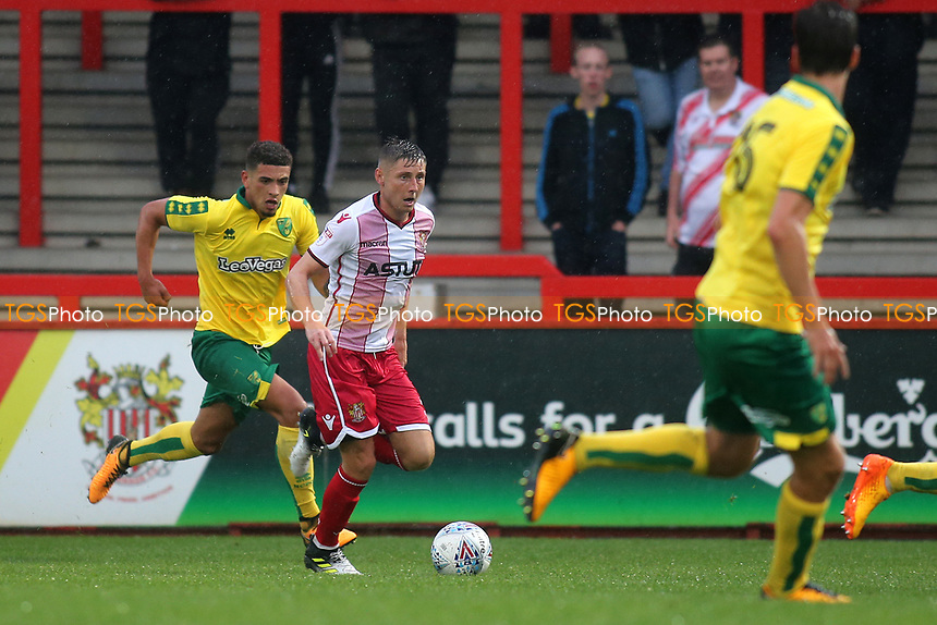 Harry Beautyman of Stevenage races upfield during Stevenage vs Norwich City, Friendly Match Football at the Lamex Stadium on 11th July 2017
