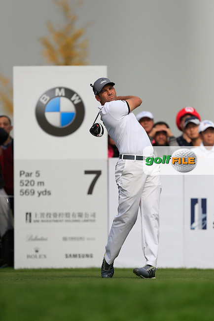 Sergio Garcia (ESP) on the 7th tee during the BMW Masters at Lake Malaren Golf Club in Boshan, Shanghai, China on Sunday 15/11/15.<br /> Picture: Thos Caffrey | Golffile<br /> <br /> All photo usage must carry mandatory copyright credit (&copy; Golffile | Thos Caffrey)