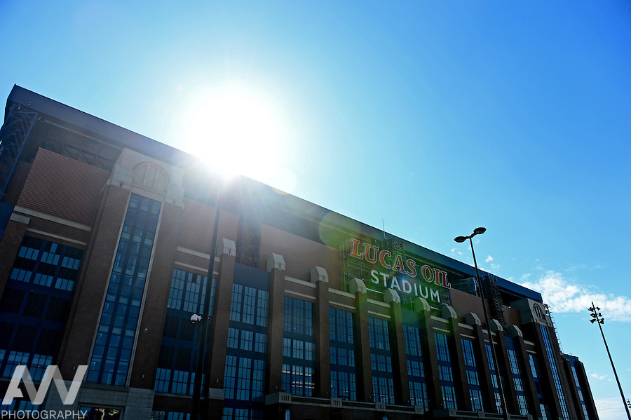 Sep 28, 2014; Indianapolis, IN, USA; Exterior view of Lucas Oil Stadium prior to an NFL game between the Tennessee Titans and Indianapolis Colts. Mandatory Credit: Andrew Weber-USA TODAY Sports
