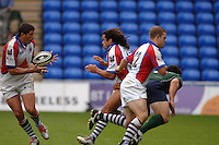 2005/06 Guinness Premiership Rugby, London Irish vs Bristol Rugby;  Manuel Contepomi [left] collects the ball from Vaughan Going. Madejski Stadium, Reading, ENGLAND 24.09.2005   © Peter Spurrier/Intersport Images - email images@intersport-images..