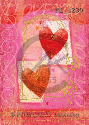 Interlitho, Andrea, VALENTINE, paintings, 2 red hearts(KL4230,#V#) illustrations, pinturas ,everyday