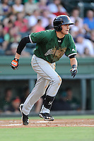 Third baseman Ryder Jones (15) of the Augusta GreenJackets in a game against the Greenville Drive on Thursday, July 10, 2014, at Fluor Field at the West End in Greenville, South Carolina. Jones was a second-round pick of the San Francisco Giants in the 2013 First-Year Player Draft. He is listed as the Giants' No. 15 prospect by Baseball America. Augusta won, 8-2. (Tom Priddy/Four Seam Images)
