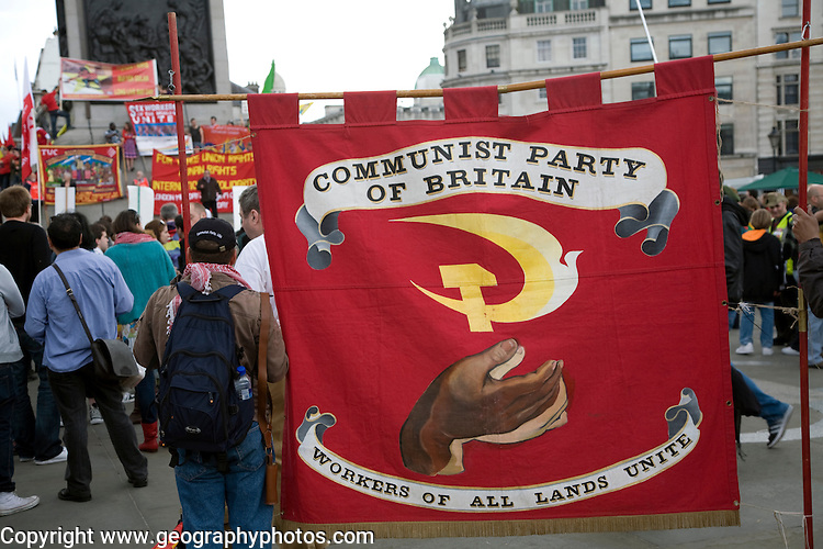 May Day march and rally at Trafalgar Square, May 1st, 2010 Communist Party of Great Britain banner
