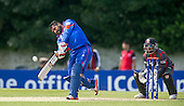ICC World T20 Qualifier - GROUP B MATCH - AFGHANISTAN v UAE at Grange CC, Edinburgh - Afghanistan batsman Mohammad Shazad hits out on his way to making 74 and Man of the Match — credit @ICC/Donald MacLeod - 10.07.15 - 07702 319 738 -clanmacleod@btinternet.com - www.donald-macleod.com