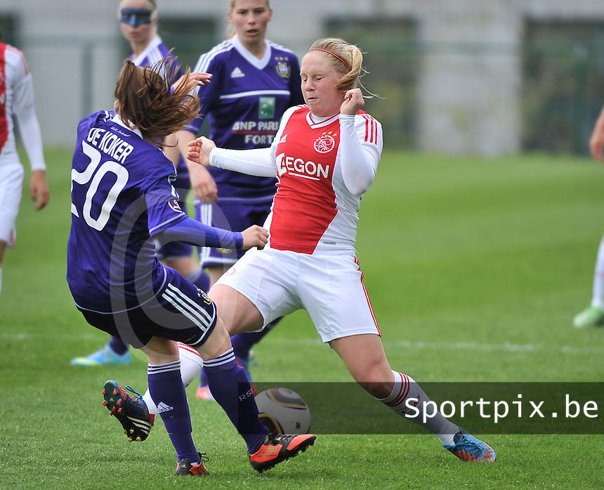 RSC Anderlecht Dames - Ajax Amsterdam : Linda Bakker (r).foto DAVID CATRY / Nikonpro.be
