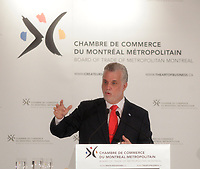 April 1st 2014 - Philippe, Couillard, Leader , Liberal Party of Quebec speak before the Montreal Board of Trade, Quebec elections will be held April 7, 2014.<br /> <br /> <br /> PHILIPPE COUILLARD<br /> ,Chef du Parti libéral du Québec s'adresse à la Chambre de Commerce du Montréal Métropolitain, le 1er avril 2014 dans le cades de la campagne electorale.<br /> <br /> Photo : Pierre Roussel