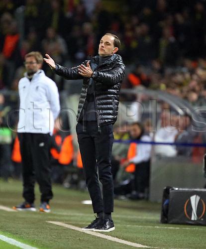 07.04.2016. Dortmund, Germany. Europa League quarterfinal. Borussia Dortmund versus Liverpool FC at the Signal Iduna Park Dortmund.  Trainer Thomas Tuchel (Borussia Dortmund)