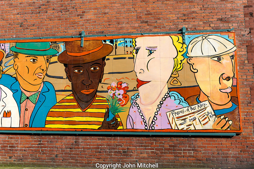 Street mural entitled Friends of Post Alley in the Pioneer Square district, Seattle, Washington, USA